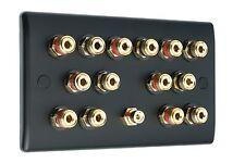 7.1 Matt Black Speaker Wall Face Plate 14 Gold Binding Posts - NON SOLDER