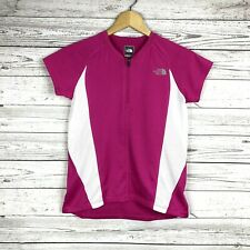 The North Face Girl's Pink White Vapor Wick 1/4 Zip Top Sz Large 14-16