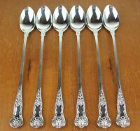 """Set of 6 x Iced Tea Spoons 7 3/4"""" Birks Regency Plate Kings Pattern silverplate"""
