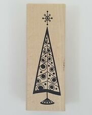 Rubber Stamp Retro Christmas Tree Inkadinkado Holiday Cards Winter Wood New