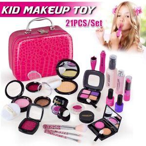 21Pcs Makeup for Girls Kids Makeup Kit Girl Real Pretend Play Makeup free shippi