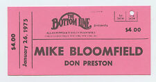 Mike Bloonfield Ticket 1975 January 26 The Botttom Line New York Unused