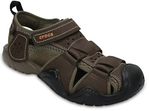 Men's CROCS Swiftwater Brown Fisherman Leather Sports Sandals  Shoes