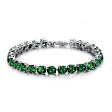 Xmas Gift 5mm Round Green Emerald Cubic Zirconia CZ White Gold Plated Chain