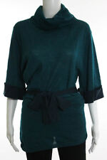 Hoss Intropia Teal Black Turtle Neck Short Sleeve Sweater Top Size Small