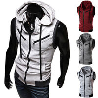 Men Sleeveless Vest Solid Zipper Zip Up Hooded Hoodie Sweatshirt Jacket Coat Top