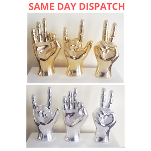 CERAMIC HAND ORNAMENT SCULPTURE PEACE OK ROCK ON SIGN GOLD OR SILVER - 22CM