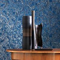 Wallpaper Victorian Blue Silver Metallic textured Embossed damask wallcoverings