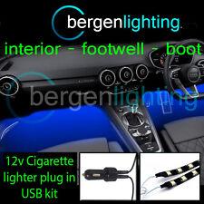 2x 1000mm Azul Usb 12v Encendedor Interior Kit 12v Smd5050 Drl Luz De Ambiente Tiras