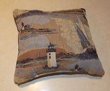 Blue Beige Lighthouse Print Decorative Pillow  12 x 11