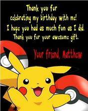 Pokemon Pikachu Birthday Party Thank You Note Cards Personalized Custom