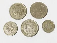 4 X Portugal 100 riz coins and 1 x 5 centavos Coin 1871 - 1900 #d6