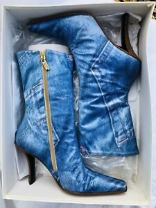 Steve Morris Designer Mid Calf Leather Boots Denim Look Exterior Size 37/4 NEW!