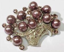 broche rétro panier couleur argent cristaux amethiste perle mauve relief * 4082
