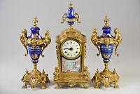 Unusual XL Faience Clock set Caryatid Vases porcelain plaque 1960's gorgeous