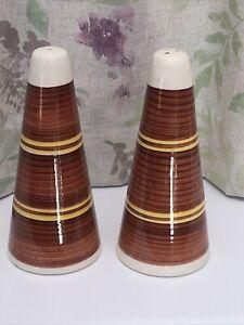 Vintage 1970s Salt & Pepper Pots. Brown And Yellow 16 Cm