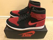 "Air Jordan 1 Retro HI Flyknit ""Banned"" Men's Sz 18 Black/Varsity Red 919704-001"