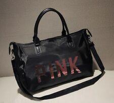 Women Girls Large Black  Nylon Pink Sequins Shoulder Travel Bag