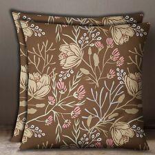 Decorative Brown Pillow Case Cotton Poplin Floral Print Cushion Cover 2 Pcs