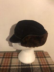 Real Sheepskin Mens Trapper Hat Size L