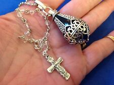 1 Decade Auto ROSARY + Holder Car Truck Mirror Enamel TRINITY Crucifix Crystal