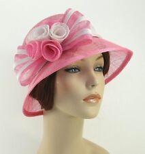 New Woman Church Derby Wedding Sinamay Ascot Cloche Dress Hat SDL-001 Pink