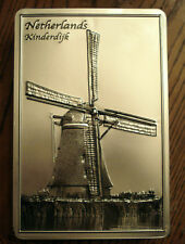 Stollwerck Metal Candy Tin Kinderdijk Netherlands Wind Mill Embossed Storage Box