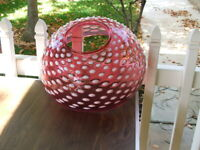 """14"""" Cranberry Opalescent Hobnail VICTORIAN Hanging LAMP SHADE, GWTW, Parlor, Oil"""