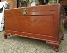 More details for antique vintage carved wooden camphor oriental chest/storage/ottoman. large vgc