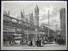 NEW YORK Hochbahn U-Bahn Subway USA. Originaler Holzstich 1879 (22x33cm)