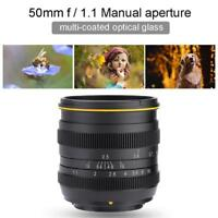 Kamlan 50mm F1.1 Manual-Focus Objektiv Lens für M4/3 Spiegellose Kameras