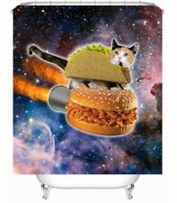 NEW Funny Cat Pizza Burger Bath Waterproof Polyester Shower Curtain FREE Hooks