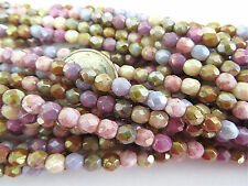 50 Opaque Mixed Luster Czech Fire Polished Glass Beads 4mm