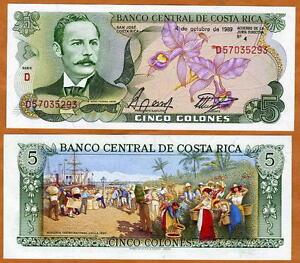 Costa Rica, 5 Colones, 1989, P-236d, UNC -> colorful