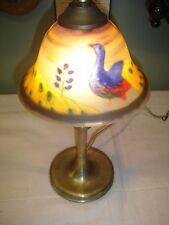 Electric Brass Mushroom Lamp with Reverse painted shade w/ Peacocks.Handel? 7037