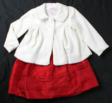 NWT girls size 24 months red Christmas dress w/ ivory coat by Maggie & Zoe