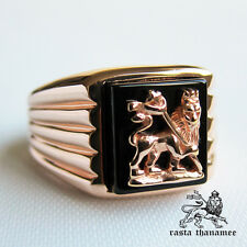 RASTA THANAMEE ONYX 18K PINK GOLD PLATED .925 SILVER RING SZ 10 NEW