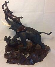 "Meiji Period Bronze Elephant Fighting Off Tigers Statue 11 1/2"" Antique"