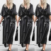Women Batwing Long Shirt Dress Low Cut Casual Tunic Ladies Midi Dress Plus Size