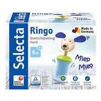 Selecta Spielzeug Ringo Hund Greifling mit Quietsche Rassel Kleinkindspiel 12 cm