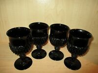 Tiara Indiana Cameo Black Diamond Point 12 ounce Goblets 4 pcs Set 6 1/2""