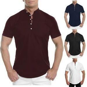 Men's Summer Short Sleeve Shirts Solid Henley Neck Slim Button Blouse Casual Top