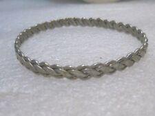 "Silver Tone Woven Bangle Bracelet, 5.5mm, 8"""