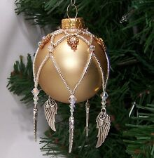 PATTERN ONLY Beaded Christmas Ornament Decorated With Charms Beginner Level