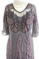 Nataya Beaded Vintage Style cocktail Dress S Black/Gray Sheath Gatsby 1920's