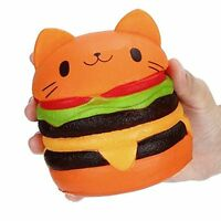 Hamburger Cat Jumbo Slow Rising Squishies Squishy Squeeze Toy Stress Reliever AU