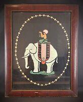 RARE Ancienne peinture sur soie début XXeme Cornac Inde signé R. MERCIER
