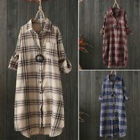 Women Autumn Long Sleeve Button Down Vintage Tartan Plaid Top Blouse Shirt Dress