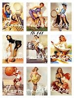 Vintage Retro Chic 50's Pin Up Ladies 9 Prints on 1 Fabric Block Quilting fb 141