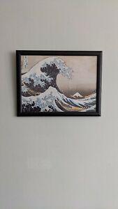 "Hokusai The Great Wave Off Kanagawa Framed Poster Art Print. 17.5"" x 13.5""."